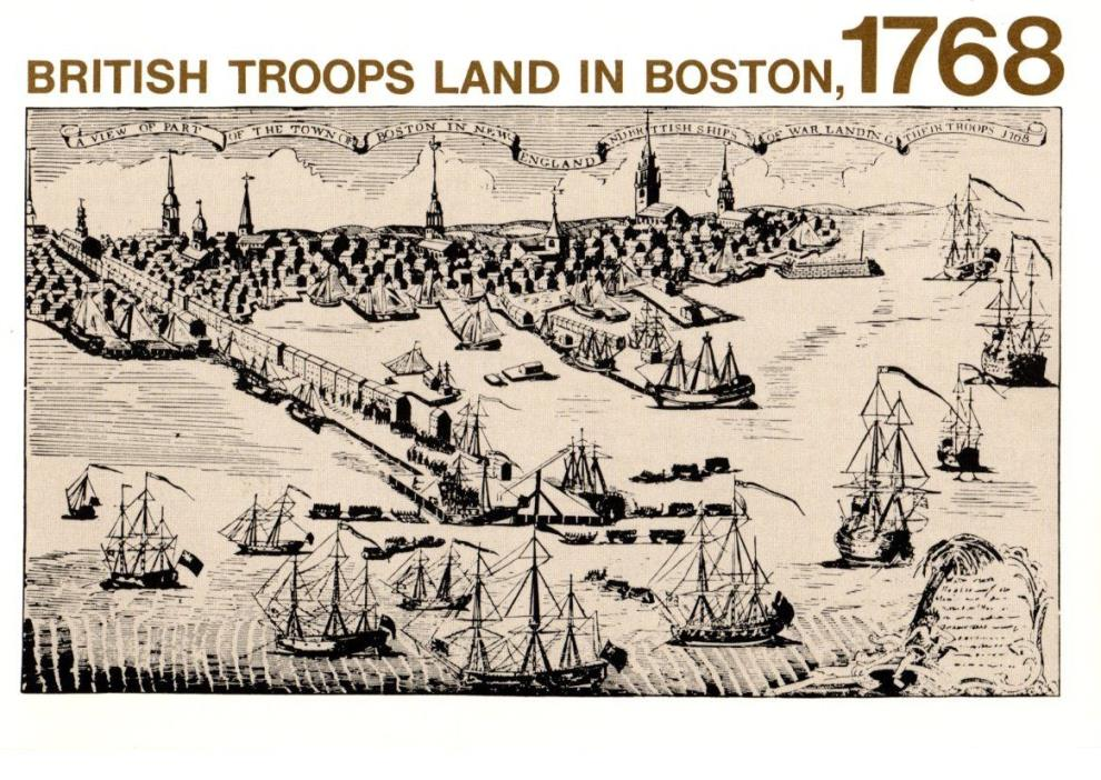 Military, Bicentennial, British Troops Land In Boston, 1768, Unposted- Postcard