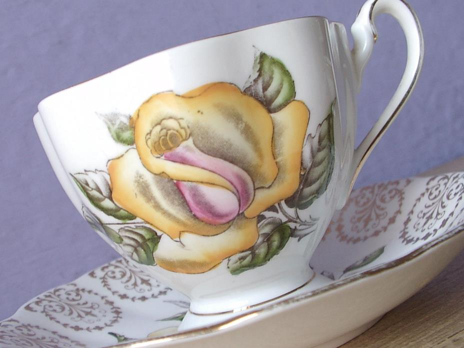 Vintage 1950's Queen Anne Hand painted yellow rose bone china tea cup teacup