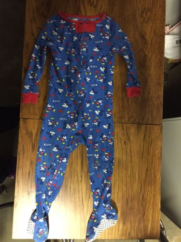Vintage Disney Mickey Mouse Footie Pajamas 12mo Toddler Child