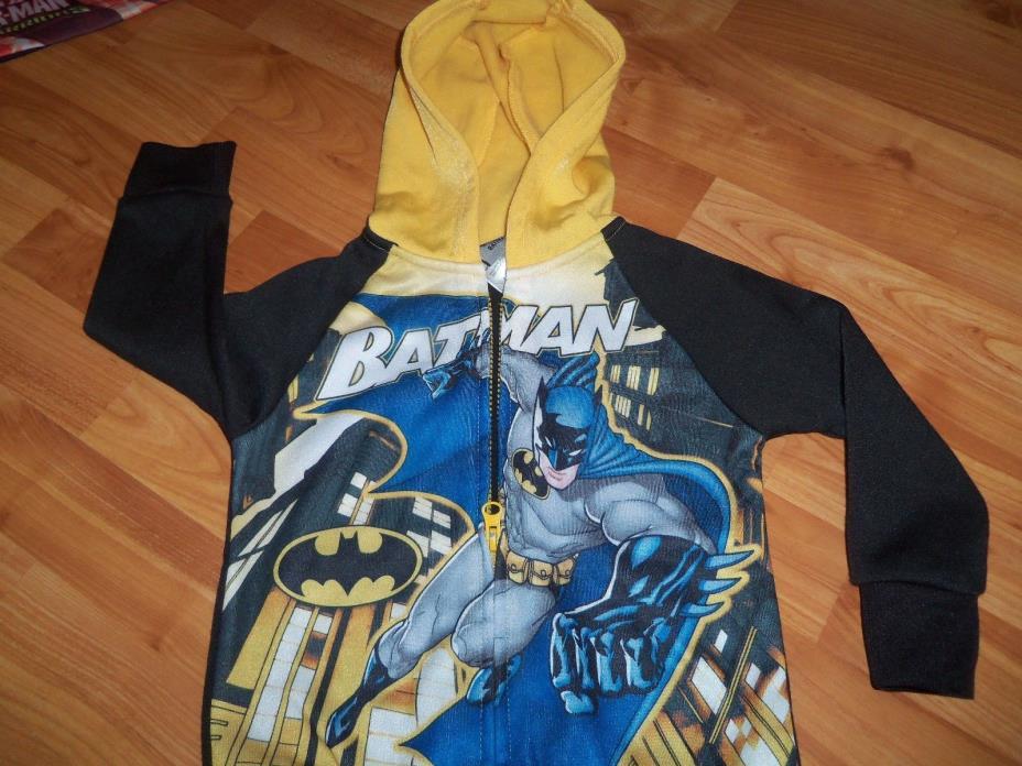 LITTLE BOYS MULTI-COLOR ZIP-UP HOODIE BATMAN JACKET SZ2T BATMAN LS BLACK/YELLOW