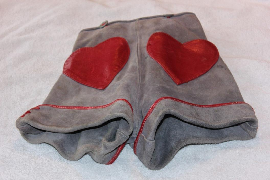 Vintage German Children's Authentic Lederhosen Shorts - Leather Suede
