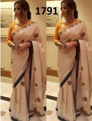 Indian Bollywood Beautiful Chanderi Silk Designer Wedding Party Wear Sari 1791