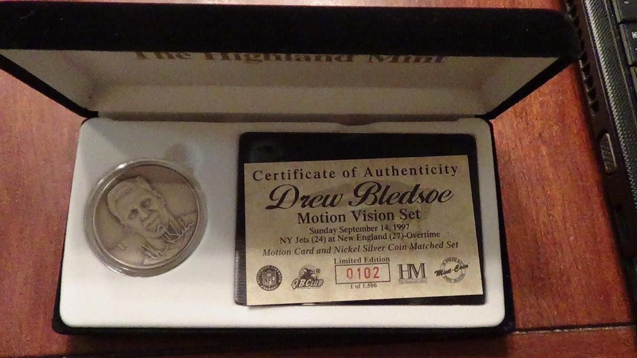 DREW BLEDSOE THE HIGHLAND MINT MOTION VISION SET NICKEL SILVER LIMITED EDITION