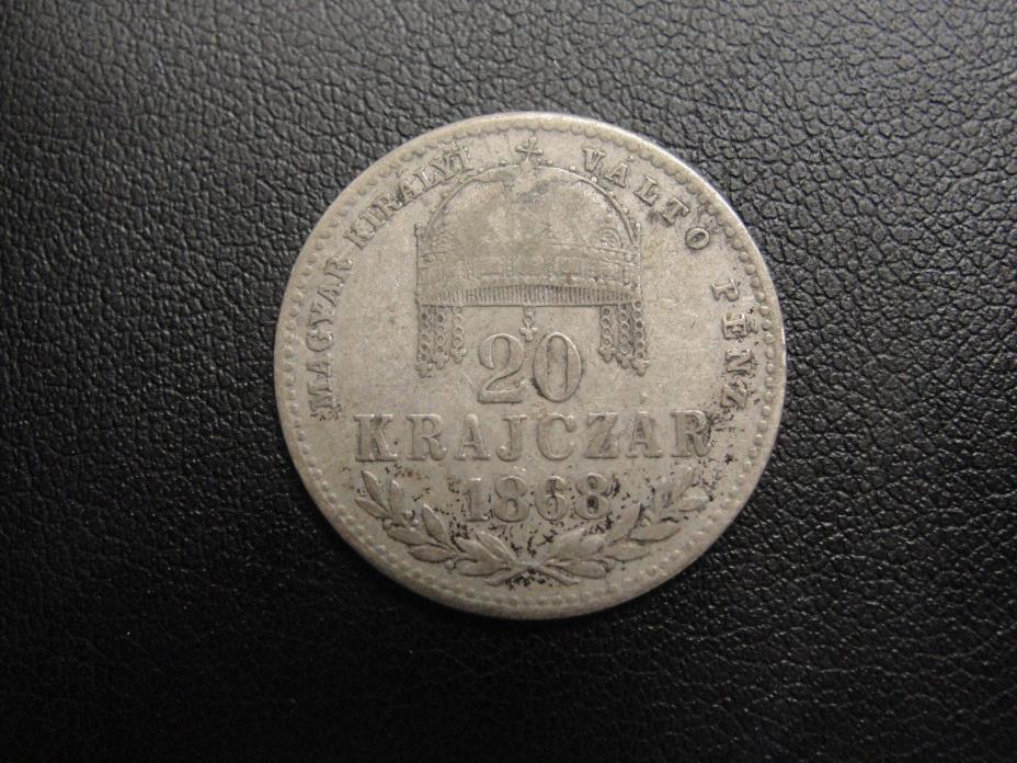 1868 KB Hungary 20 Krajczar Silver Coin