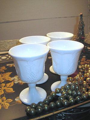Indiana Glass Colony Harvest Grape Milk Glass 4 Stemmed Goblet Glasses