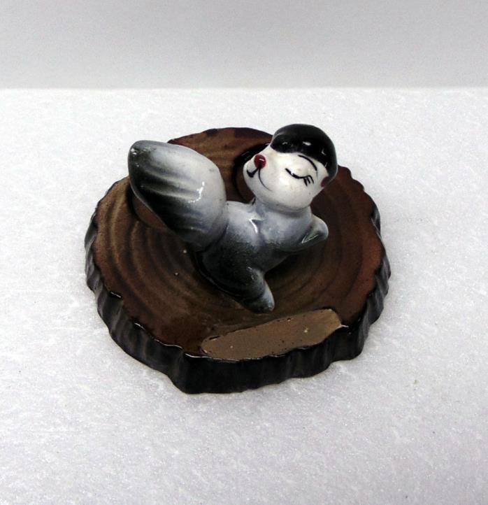 Souvenir Skunk Figurine on Base, Ceramic, 2