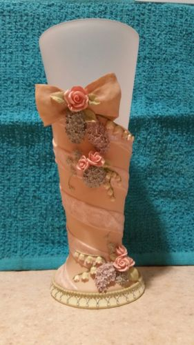 Vintage Heather Hykes Cat Nip Ribbon and Rose Vase