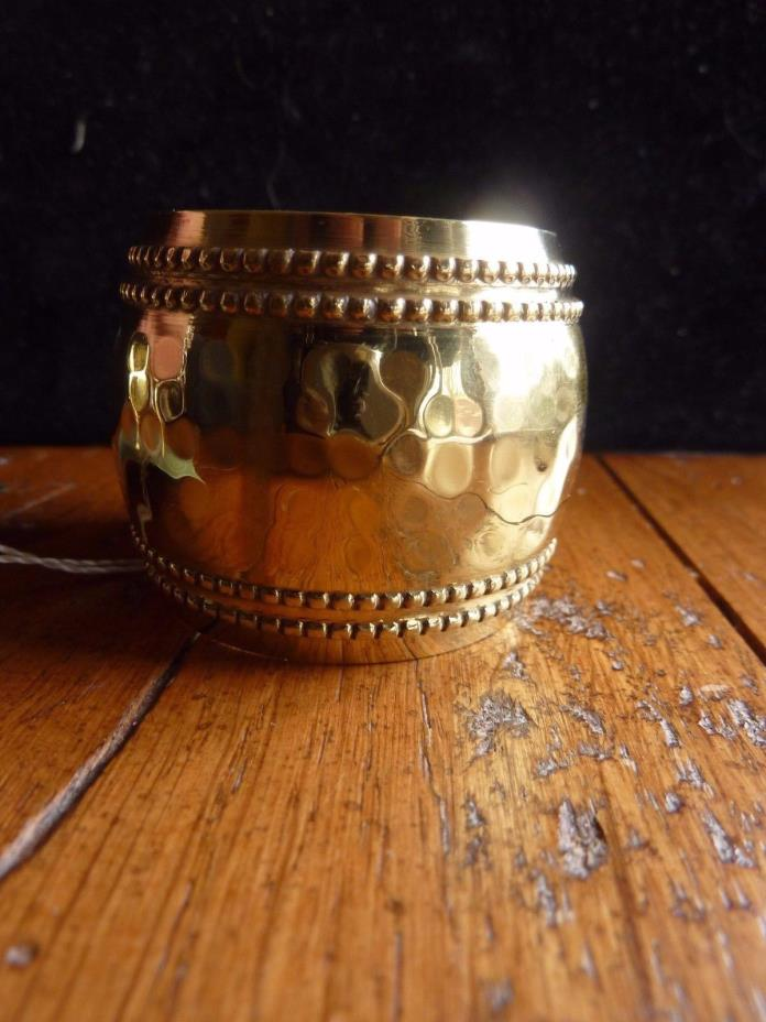Vintage Brass Napkin Rings Holders Hand Wrought Hammered Set of 6