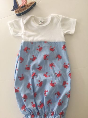 BN Boutique Quality Baby Boys 0-3M Newborn Daygown Crab Print