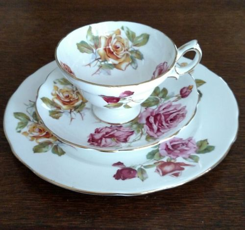HAMMERSLEY TEA CUP, SAUCER and PLATE TRIO PEDESTAL CUP w/ YELLOW and PINK ROSES