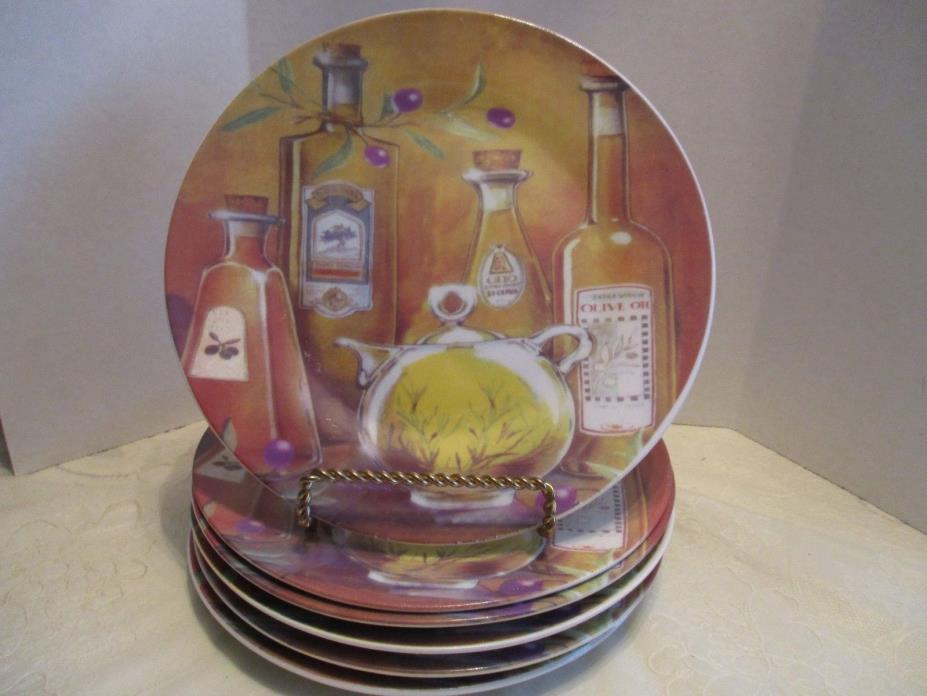 6 Unmarked Salad Dessert Plates With Olive Oil Bottles Theme