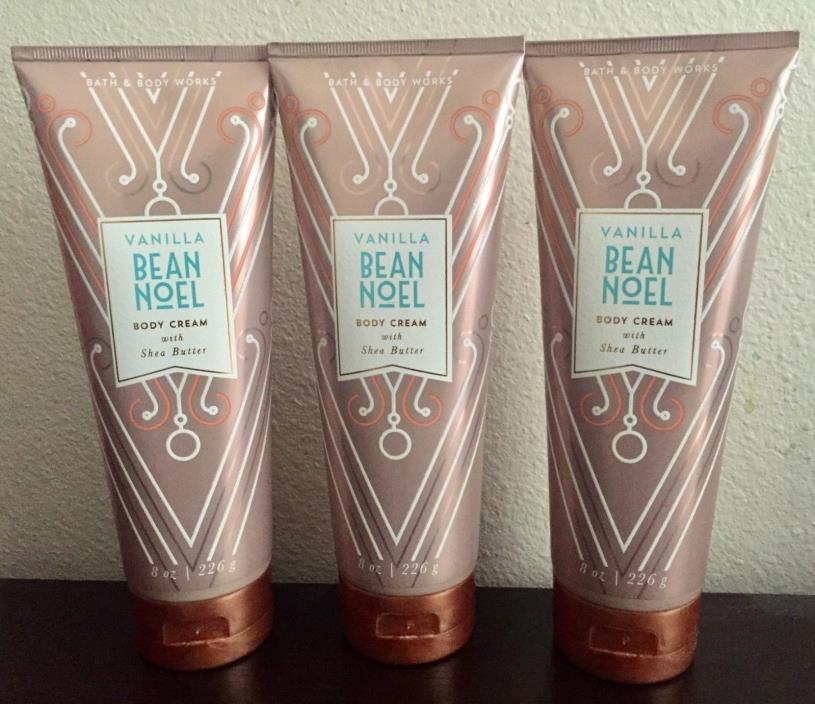 NEW 3 BATH AND BODY WORKS VANILLA BEAN NOEL BODY CREAM W/ SHEA BUTTER 8 OZ