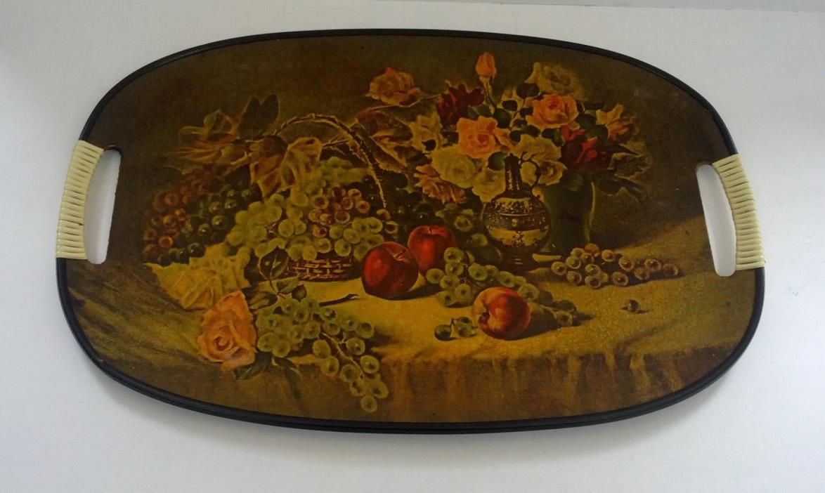 vintage serving tray still life picture fruit basket and flowers made in Japan