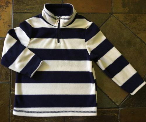 Boys fleece jacket size 4T 4 TCP Navy White Striped pullover EUC