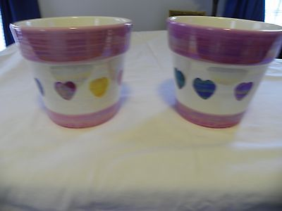 Valentine's Irredescent Ceramic Heart Pots - Lot of 2