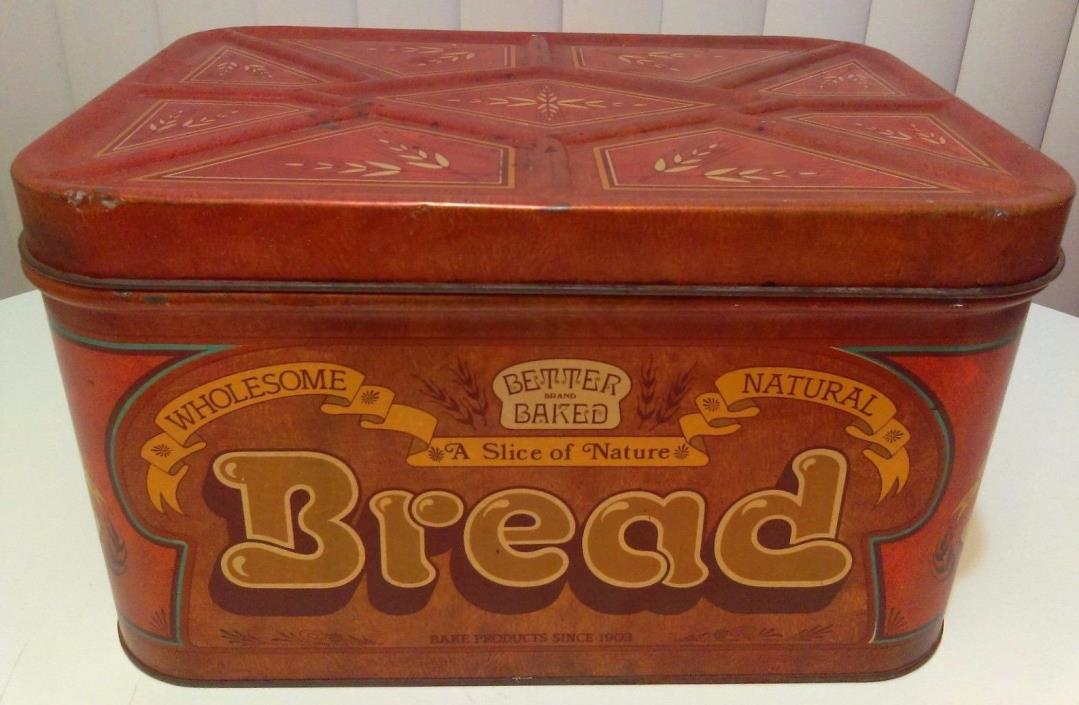 Vintage Better Baked Bread Box Tin 13.5
