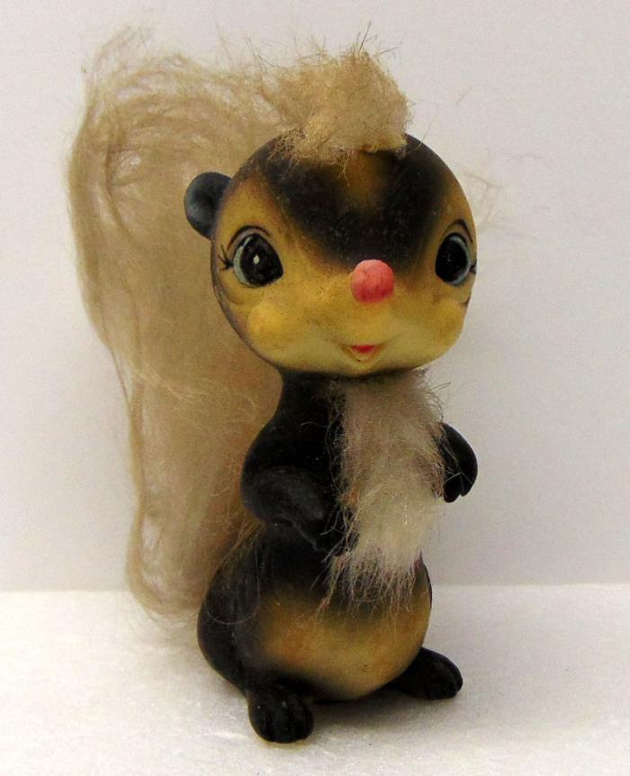 Bushy Tailed Skunk Figurine, Soft Plastic, 4½
