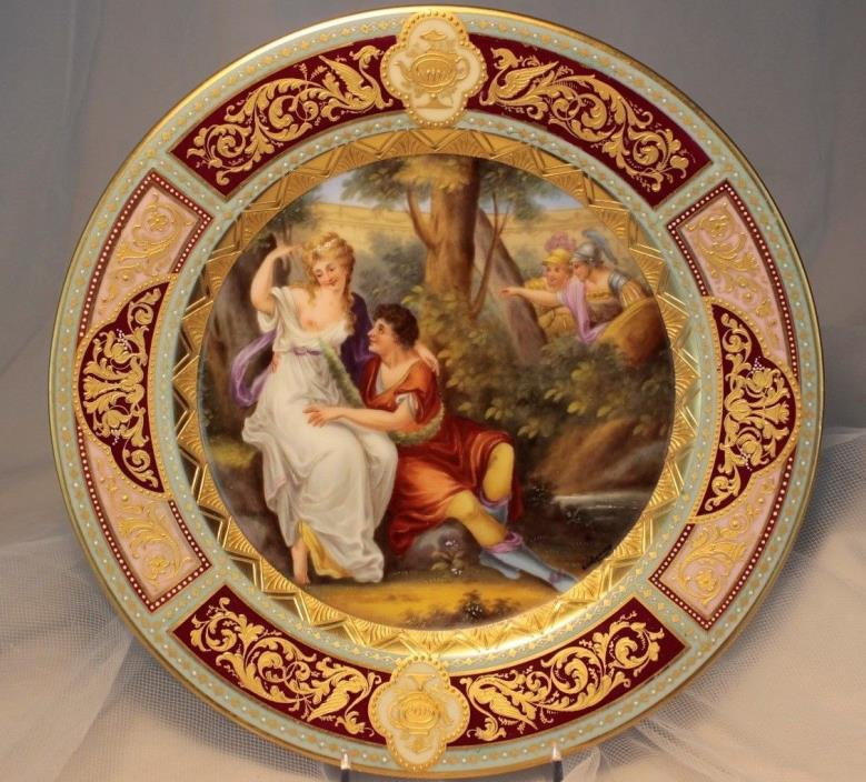 Impressive Antique Hand-Painted Vienna style porcelain plate