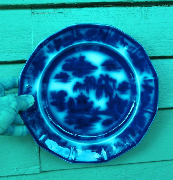 Manilla FLOW BLUE TRANSFER PLATE DISH Early 19th Century Staffordshire PWAC