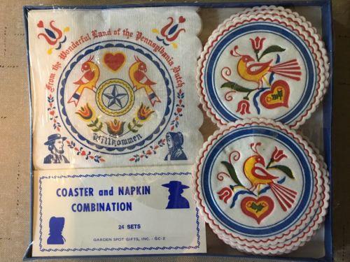 Vintage Paper Coaster And Napkin Set Amish Pennsylvania Dutch