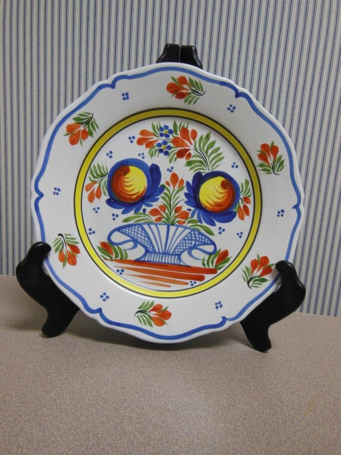 BEAUTIFUL!  HB Henriot QuimperFrance F6 D6 MR Plate with Basket and Flowers