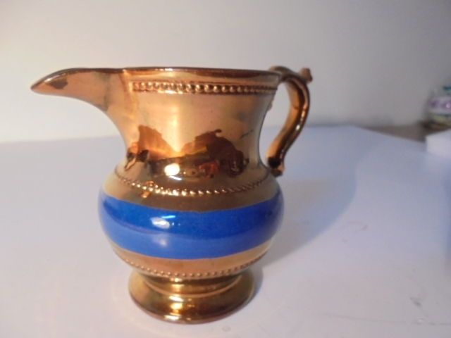 Antique Victorian Copper and Blue Luster Ware Pitcher / Creamer Glazed w/ Handle