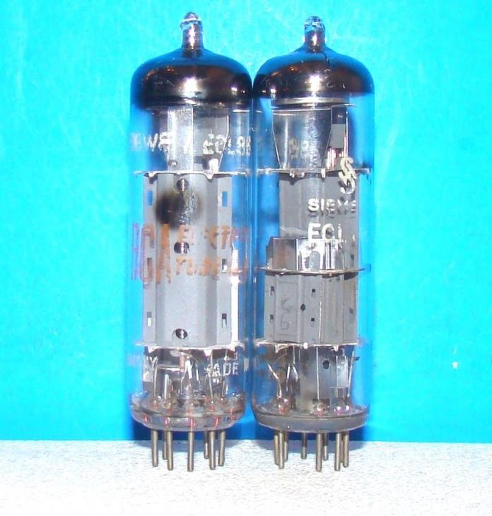 6GW8 ECL86 2 vacuum tubes valves radio vintage electron amplifier tested Germany