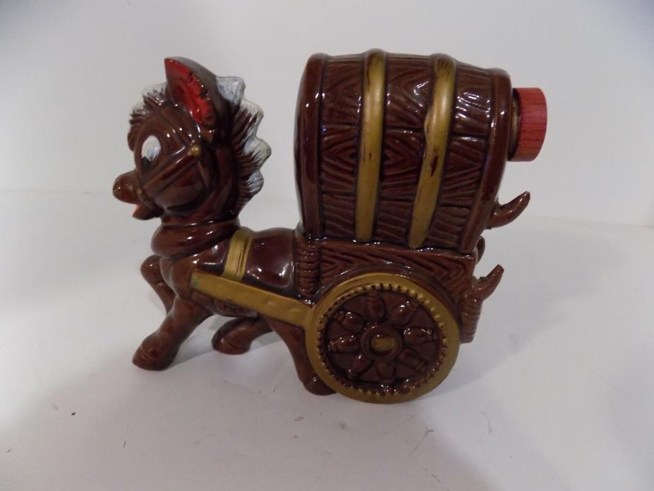 Vintage Ceramic Cowboy Western Horse Covered Wagon DECANTER