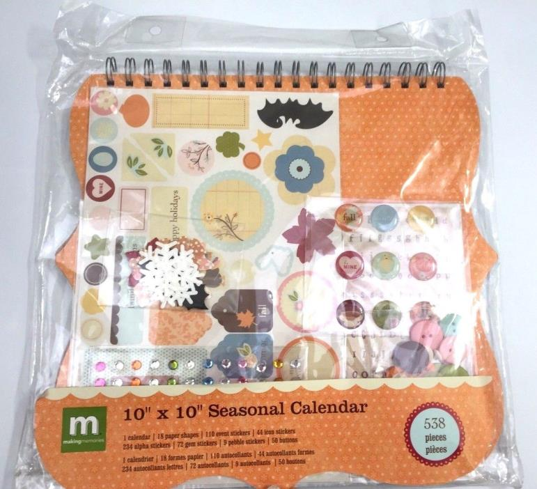 Making Memories Seasonal Calendar 10x10  Spiral 538 Pieces Crafts New