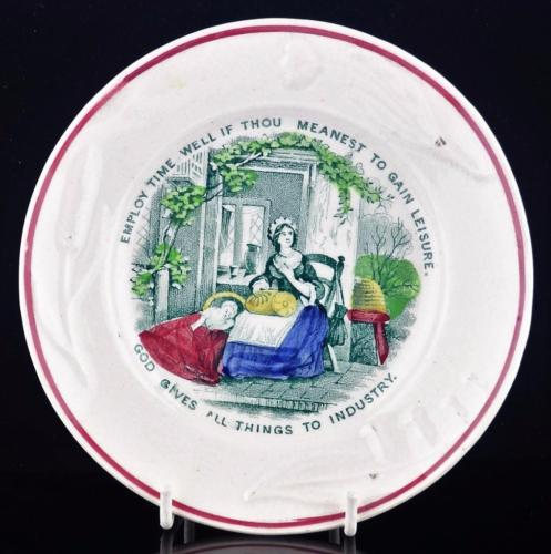 STAFFORDSHIRE TRANSFER PLATE-EMPLOY TIME WELL IF THOU MEANEST TO GAIN LEISURE