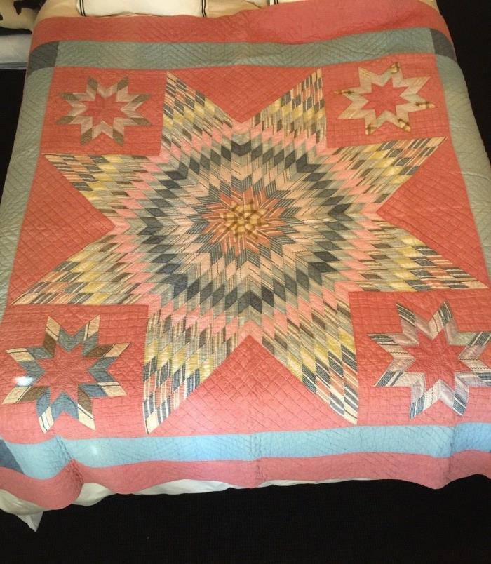 Antique Handmade American Star of Bethlehem Quilt