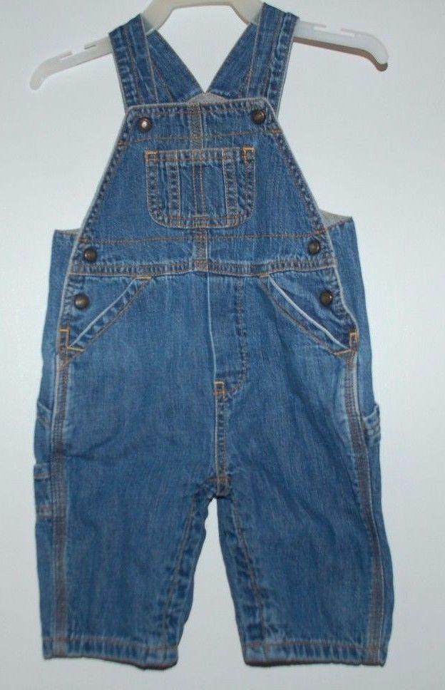 Boys BabyGap 3-6 Months Blue Jeans Denim Overalls Bibs EUC!!! Gap