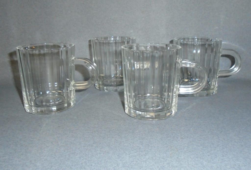 VTG Clear Paneled  ITALY BORMIOLI  Irish creme, Coffee Mug Cup set of 4