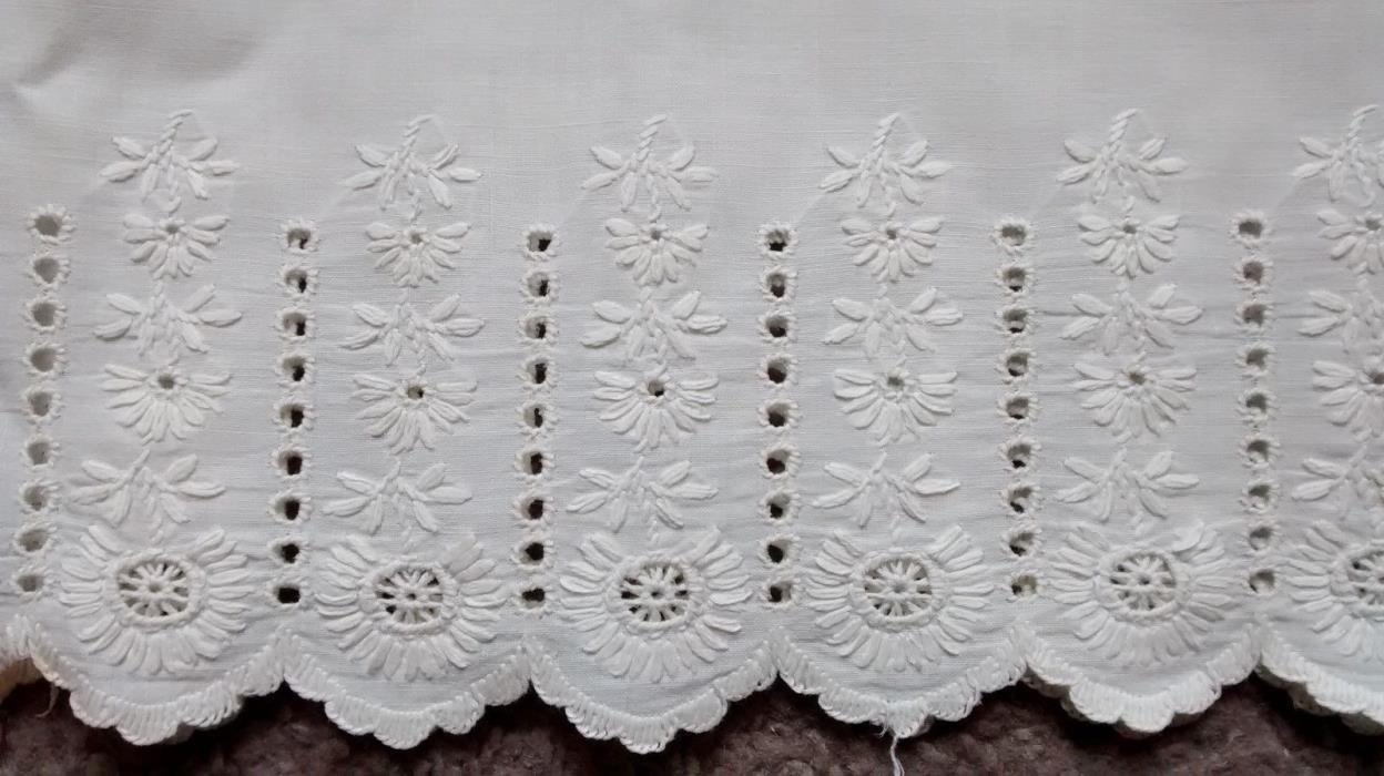 Antique Embroidered Eyelet Cotton Flounce Lace Trim Salvage 54