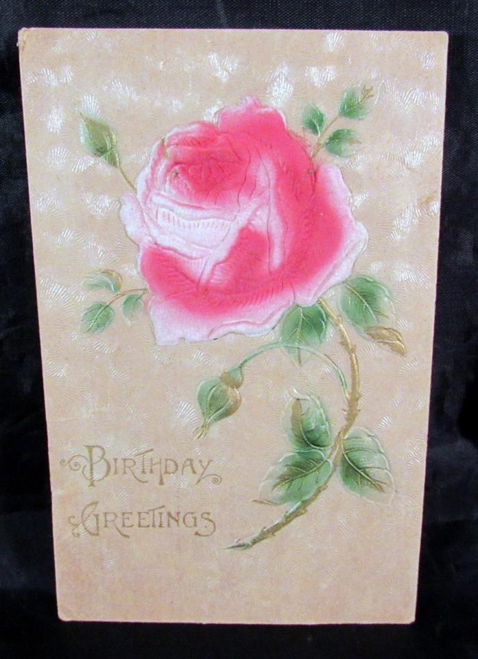 Vintage Embossed Postcard Happy Birthday Pink Flock Rose Made in Austria