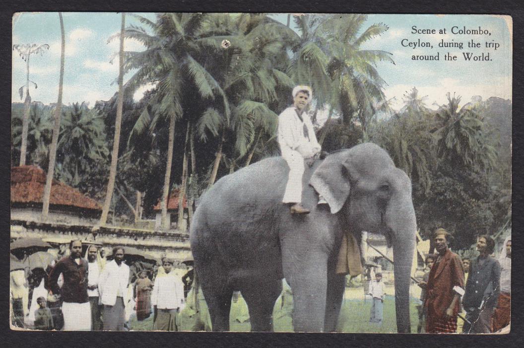 Sri Lanka-Colombo-Ceylon-Military-Sailor-Elephant-Trip Around The World-Postcard