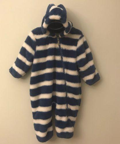 Hatley Baby Fuzzy Fleece Bundler Blue White Stripes Warm Cozy Size 18-24 Months