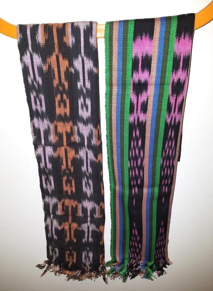 Lot of 2 different Colorful Guatemalan Mayan Scarf Belt Sash Boho Hippie Pirate