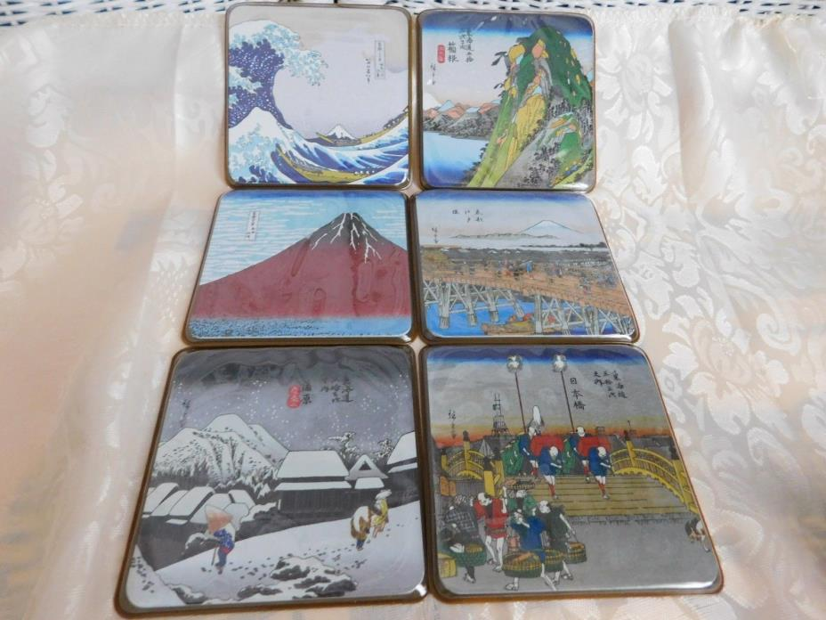 Japanese Landscape Coasters of Ukiyo-e Set of (6)