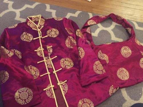 Yi Fang Medium Red Gold  Asian Style Dragon Jacket Shirt Matching Purse NWOT