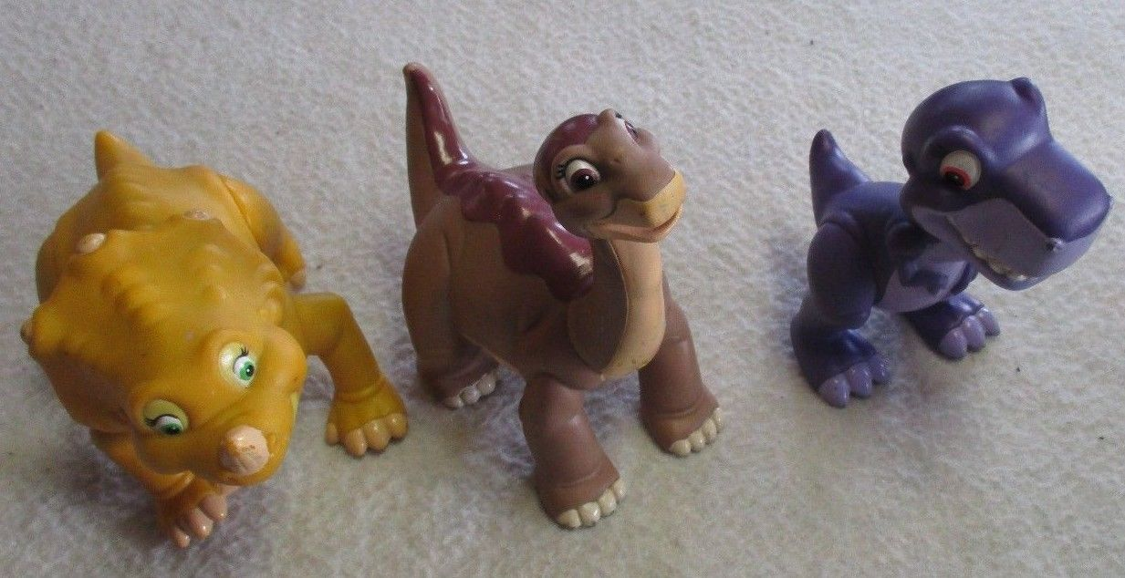 LAND BEFORE TIME ACTION FIGURE SET OF 3 LITTLEFOOT CHOMPER CERA 1996 USED UCS