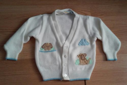 PRIDE N JOY 4 BUTTON FRONT SWEATER-WHITE-SIZE 18 MONTHS