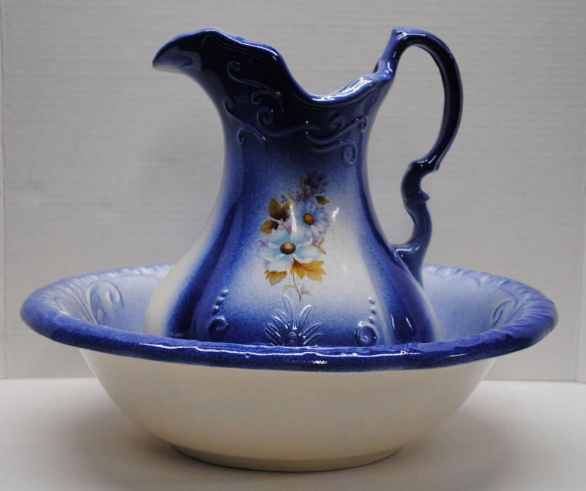 Vintage Ironstone USA Cobalt Blue Floral Pitcher and Basin Bowl Carafe Jug