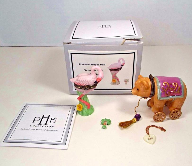 2 Porcelain Hinged Trinket Boxes Miniature Flamingo Circus Bear On Wheels PHB