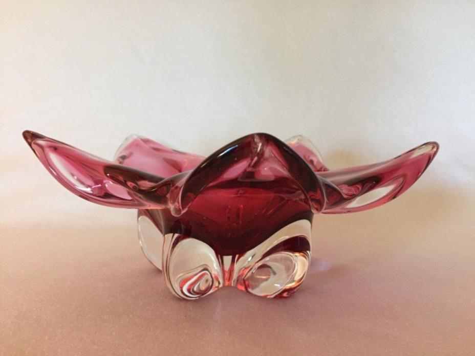 Murano Art Glass Cranberry & Crystal Free Form Mid Century Petal Bowl Free Ship