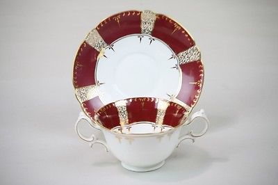 Soup Bowl Set w Saucer Burgundy Gilt Gold  Bouillon Gold Panels & Trim antique