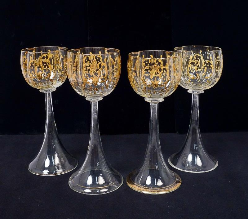 Antique 19c Group 4 Hand Blown Gilded Bohemian Art Glass Goblets for Restoration