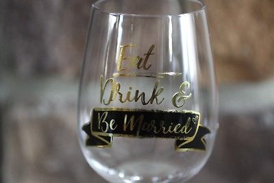 WINE GLASS FROM SASSY STEMLESS 15 OZ GOLD WRITING