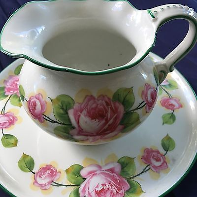 Ovington Bros. New York Made in France Large Floral Pitcher & Plate BEAUTIFUL