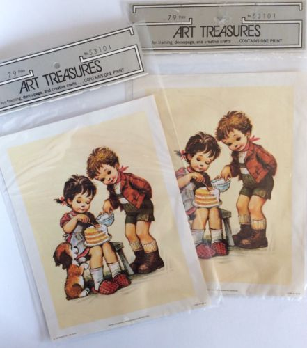 Lot Of 2 Vintage Art Treasures Little Girl & Boy Print Framing Decoupage Crafts